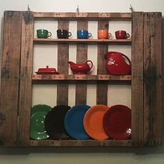 Making a pallet into a dish display.
