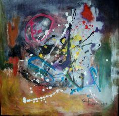"""Artista Maria Cristina Faleroni Título de la Obra: """"Primavera eres tú"""" Abstracto - Acrílico sobre madera."""