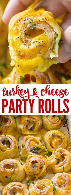 Hot Turkey and Cheese Party Rolls! – Passion For Savings These Hot Turkey and Cheese Party Rolls are an Easy Dinner Recipe or Party Appetizer for Tailgating or Game Day! The perfect bite sized snack for a crowd! Appetizers For A Crowd, Finger Food Appetizers, Finger Foods, Appetizer Recipes, Party Appetizers, Appetizer Ideas, Cheese Appetizers, Party Entrees, Appetizer Dinner