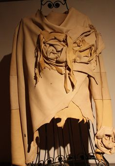 showdiva designs FaBuLoUs Chamois Color Asymmetrical Leather Jacket with Scupted Flowers Everywhere