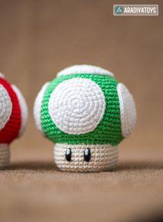 Crochet Pattern of 1Up Mushroom from Super Mario