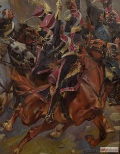"""Wojciech Kossak - Officer of Polish Light Horse ( fragment of 1915 painting titled """"Vive l'Empereur"""" ) Poland History, Art History, Military Diorama, Military Art, Napoleon Josephine, Napoleonic Wars, Animals And Pets, Horses, Soldiers"""
