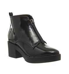 Office Invincible Front Zip Ankle Boots Black Box - Ankle Boots