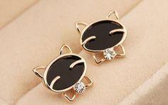 Best Jewellery - Rhinestone Cat Earrings #earringgs #catearrings #cat #rhinestoneearrings