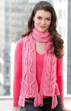The pretty Breast Cancer Awareness Scarf is perfect for showing your support in October or anytime! The knitted cable scarf is reversible, with a unique cable pattern on both sides. Create one or a dozen and donate them to your local hospital. Fall Knitting Patterns, Free Knitting, Knitting Needles, Crochet Patterns, Crochet Ideas, Scarf Patterns, Knitting Ideas, Knitting Projects, Knit Cowl