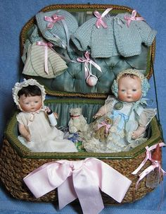 All original Horsemen Tynie Babies with trunk and extra clothing and toys.