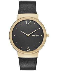 Skagen Women's Freja Black Leather Strap Watch 34mm SKW2370