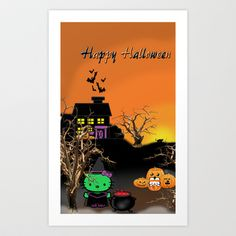 Hk Happy Halloween Art Print by Abstractartchick - $17.68