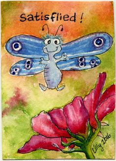 Cute cartoon blue butterfly is satisFLIED on this cosmos flower.!  ACEO art watercolor is on ebay until 6-27-16   http://www.ebay.com/itm/112038037536  artwork by Lillyarts.com