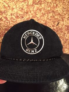 64a1c6bc995 mercedes benz vintage  80s corduroy hat snapback black braided rope from   29.99