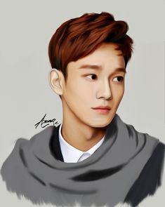 Chen by 그냥시 on FanBook Exo Chen, Chanyeol Baekhyun, Kpop Exo, Exo Anime, Exo Fan Art, Exo Lockscreen, Korea, Kpop Drawings, Beautiful Fantasy Art