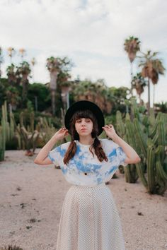Clouds t-shirt, dotted skirt and hat