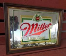 Miller High Life Beer Advertising Sign Mirror Logo Brewery Pub Tavern Bar Bought