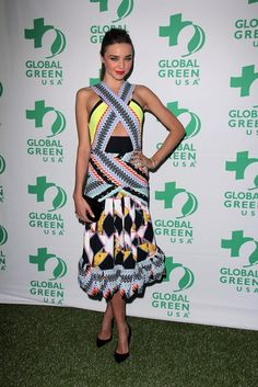 Fashion Jury: Miranda Kerr does prints and cut outs (what do you think?) herve leger