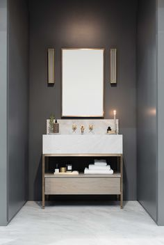 The Clyde vanity is a piece with real presence for your bathroom. The subtle design features an open shelf and simple push-front oak drawer for extra storage.