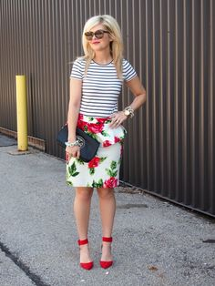 Do you have a #floral dress? Try layering it under a #striped top! {On the other hand, a floral skirt should go on my #Spring shopping list...}