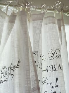 """""""cheese cloth printed curtains"""" there's an idea. cheese cloth for curtain material. Printed Curtains, Linen Curtains, Drapery, Stenciled Curtains, Cottage Curtains, Short Curtains, Country Curtains, Printed Linen, Kitchen Curtains"""