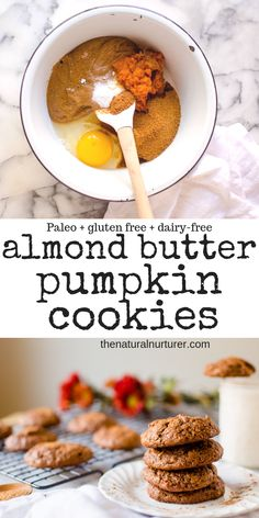Almond Butter Cookies {Paleo, dairy-free, gluten free} Possibly the easiest cookies you can whip up when a craving hits, Pumpkin Almond Butter Cookies are going to be your new fall jam! Made from 7 squeaky clean ingredients and whipped up in one bowl, the Paleo Dessert, Healthy Sweets, Healthy Baking, Dairy Free Cookies, Paleo Cookies, Healthy Pumpkin Cookies, Almond Butter Cookies, Recipes With Almond Butter, Peanut Butter