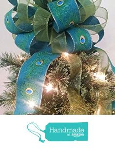 """Christmas Tree Topper - Burlap Peacock and Green Christmas Tree Topper Bow - Holiday Decoration Bow - Handmade Bow - 12"""" in diameter x 9"""" high and 4-20"""" long streamers from Baskets From A To Z https://smile.amazon.com/dp/B01LZ8JPHH/ref=hnd_sw_r_pi_dp_a07oyb9G9RN7H #handmadeatamazon"""