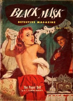 Vintage Black Mask crime fiction pulp magazine cover,  1951