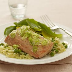 Broiled Salmon with Orzo