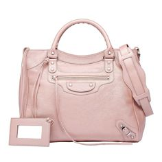Balenciaga Classic Silver Pearly Velo Pink ($1,795) ❤ liked on Polyvore