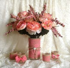 coral pink lace and natural burlap covered vase and tea candles rustic wedding décor, bridal shower decor