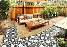 Backyard Stencils: Cheapest DIY Renovation Ideas with Floor Stencils – Royal Design Studio Stencils Painted Concrete Floors, Stained Concrete, Large Stencils, Paint Stencils, Outdoor Rugs, Outdoor Art, Outdoor Decor, Porch Paint, Backyard Renovations