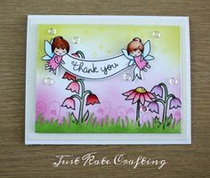 Lawn Fawn Fairy Friends; DIB; small flowers; pastel; pink yellow; banner; thank you