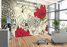 Red Flowers Custom Wallpaper Mural Print by Jw & Shutterstock Wall Painting Decor, Mural Wall Art, Diy Wall Art, Wall Decor, Wall Art Designs, Wall Design, Doodle Wall, Chalkboard Wall Bedroom, Flower Mural
