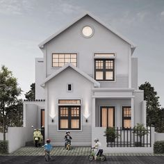 Classic House Design, Dream Home Design, New House Plans, Dream House Plans, Minimalis House Design, Storey Homes, Minimal Home, House Blueprints, Facade Design