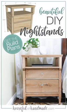Feb 2020 - Build these beautiful DIY nightstands! The tall nightstands have lots of storage and the open shelf is the perfect place to change electronics. Building Furniture, Diy Furniture Plans, Diy Furniture Projects, Diy Wood Projects, Pallet Furniture, Furniture Makeover, Geek Furniture, Furniture Design, Antique Furniture