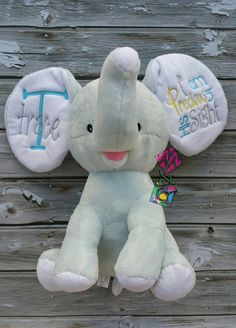 Personalized Stuffed Elephant Baby Shower by TCPassionateStitches