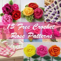15 free crochet rose patterns ༺✿ƬⱤღ  http://www.pinterest.com/teretegui/✿༻