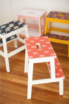 DIY removable wallpaper stools | this little street