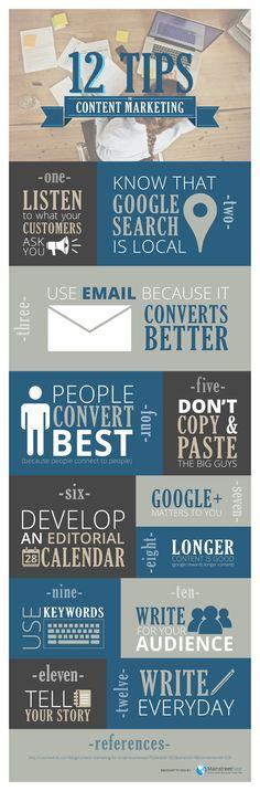 12 Content Marketing Tips - @visualistan