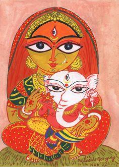 jamini roy : Uma with Ganesha Buddha Painting Canvas, Ganesha Painting, Tribal Art, Madhubani Art, Durga Painting, Indian Folk Art, Art, Madhubani Painting, Folk Art Painting