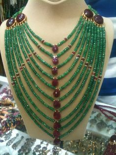 Emerald and ruby cascade necklace!