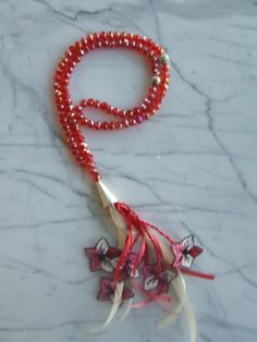 Red 99 islamic prayer beads with red-pink-white flowers, Tasbih, Tesbih, Necklaces