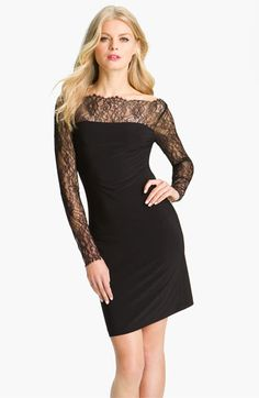 ABS by Allen Schwartz Lace Sleeve Jersey Sheath Dress | Nordstrom