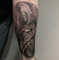101 Amazing Spartan Tattoo Designs You Need To See! 3d Tattoos For Men, Cool Arm Tattoos, Best Sleeve Tattoos, Tattoo Sleeve Designs, Forearm Tattoo Men, Body Art Tattoos, Tattoo Ink, Men Tattoo Sleeves, Warrior Tattoo Sleeve