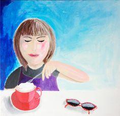 Varm kakao med flødeskum. 50X50 cm. Arkyl på kanvas. Af Katrine Aastrøm Christensen
