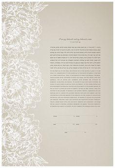 Ketubah Papercut by Jennifer Raichman Peonies by JenniferRaichman