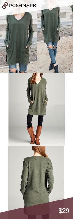 Olive oversized v-neck sweater/sweatshirt tunic Never worn. Says L but more like an XL Sweaters V-Necks