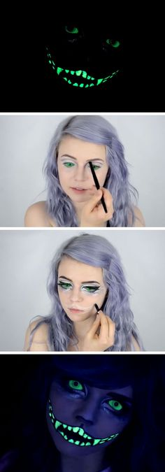 Glow in the Dark Cheshire Cat Tutorial | 20+ Easy Halloween Makeup Tutorials for…