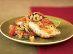 Grouper with tomato-olive sauce - Dietitian's tip: Grouper — a firm white-fleshed fish that can be baked, broiled, poached or steamed — is a great low-fat source of protein, B vitamins, iron and potassium.