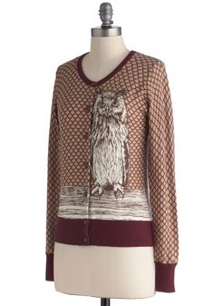 Knitted Dove Owl Over Town Cardigan | Mod Retro Vintage Sweaters | ModCloth.com