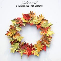 Aluminum Can Leaf Wreath Tutorial at savedbylovecreations.com #fall #wreath #upcycle #repurpose #recycledCrafts