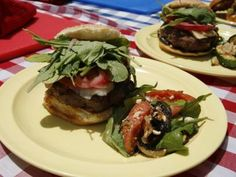 """BIG FAT BURGER WITH GRUYERE, HAM, PICKLED ONIONS, ARUGULA, AND GARLIC MAYO RECIPE: ~ From: """"Food Network.Com."""" ~ Recipe Courtesy of: Anne BURRELL (Worst Cooks In America; Grill Skills) ~ Prep.Time: 10 min; Inactive: 30 min; Cook Time: 10 min; Total Time: 50 min; Level: Easy; Yield: (2 burgers)."""