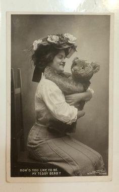 Real Photo Postcard 1908, Woman with Steiff Teddy Bear
